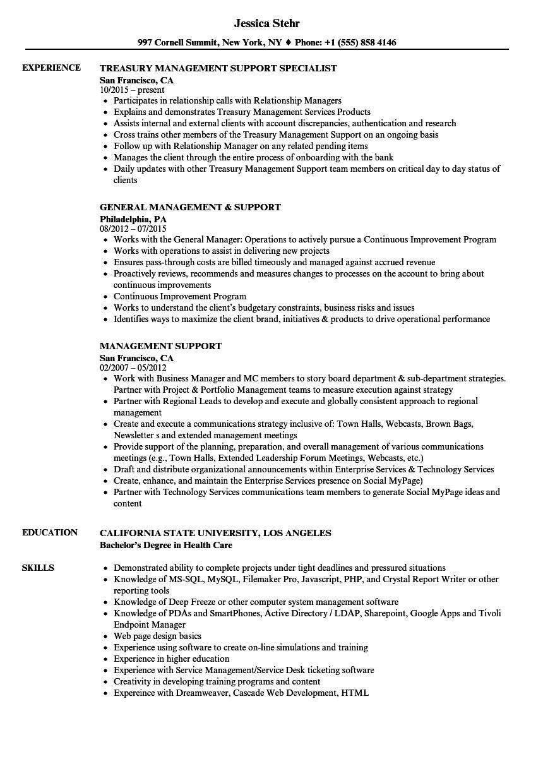 management support resume samples
