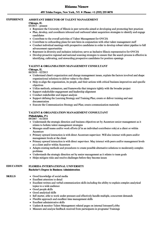 Management Talent Resume Samples Velvet Jobs