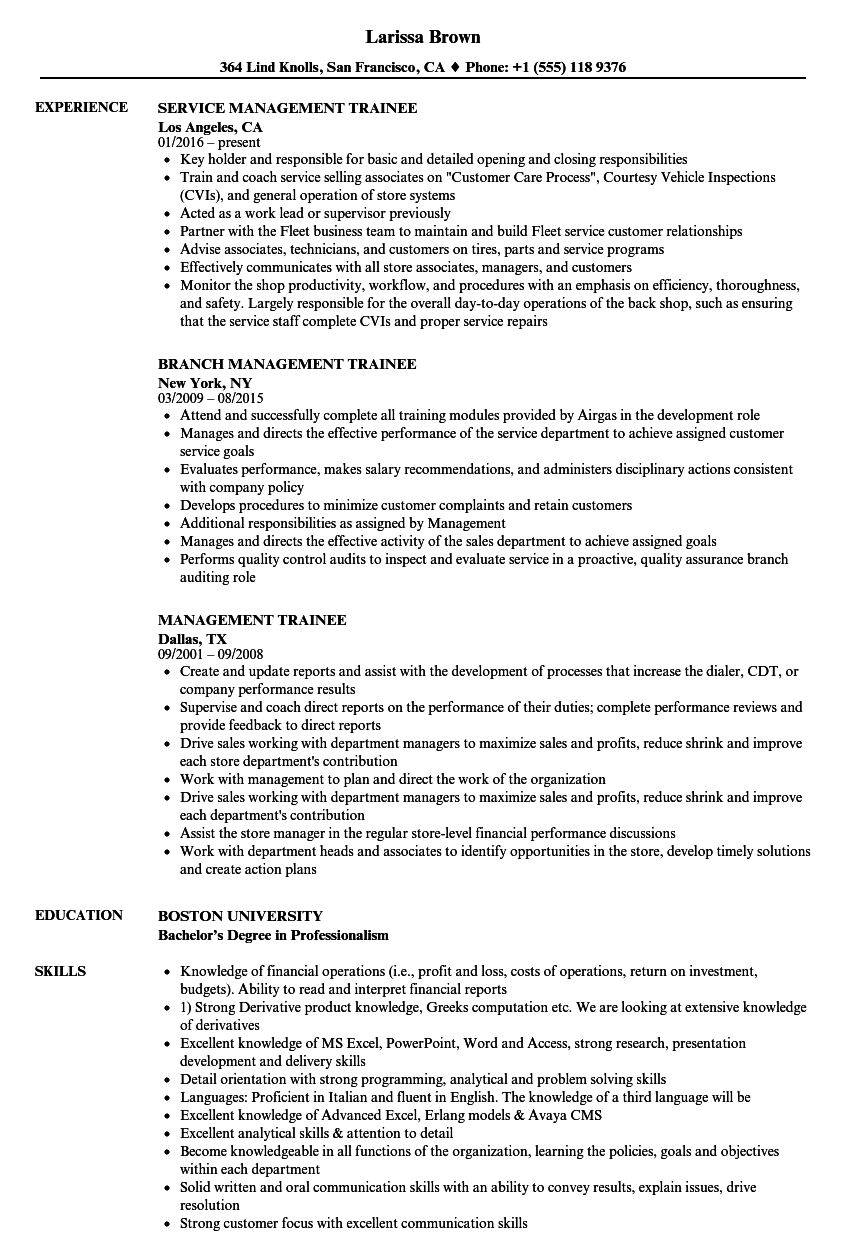 Management Trainee Resume Samples | Velvet Jobs