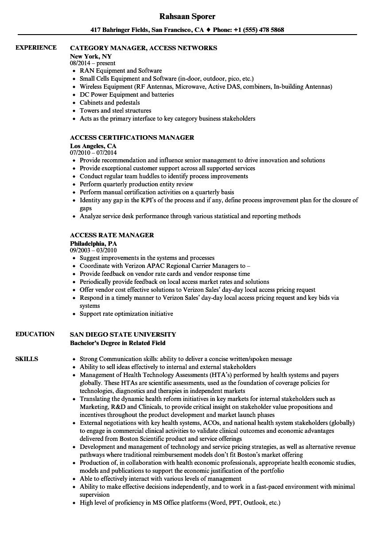 Manager, Access Resume Samples | Velvet Jobs