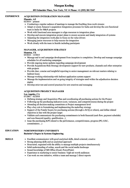 Manager, Acquisition Resume Samples   Velvet Jobs