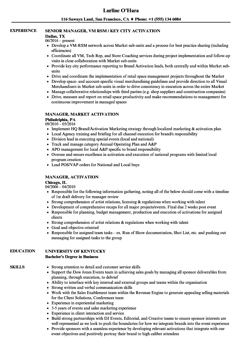 manager  activation resume samples