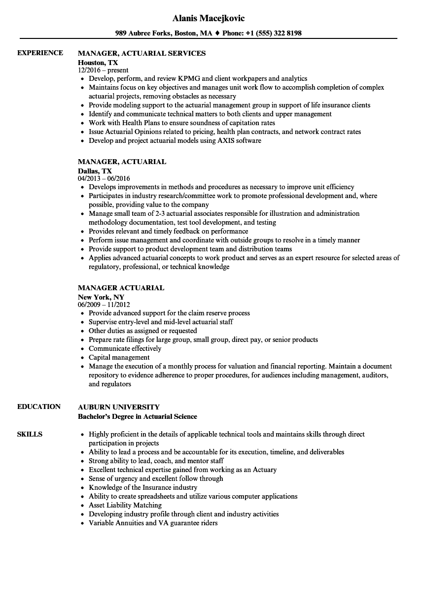 manager  actuarial resume samples