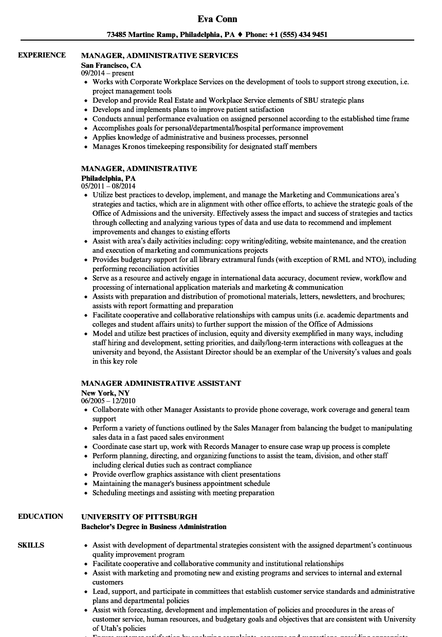 manager  administrative resume samples