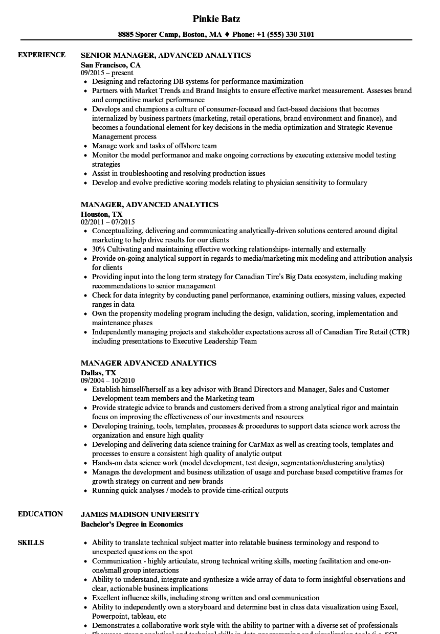 manager  advanced analytics resume samples
