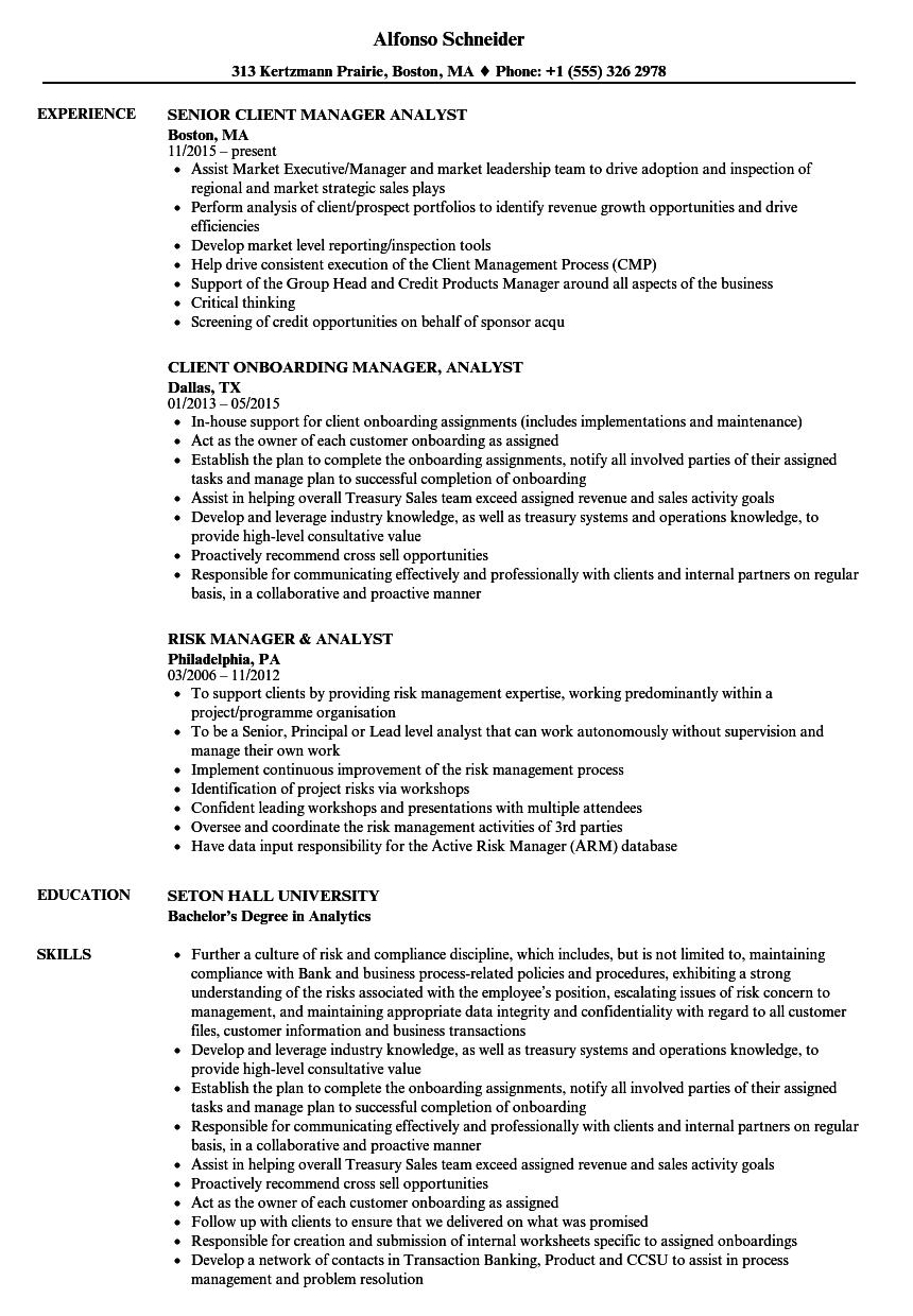 manager analyst resume samples