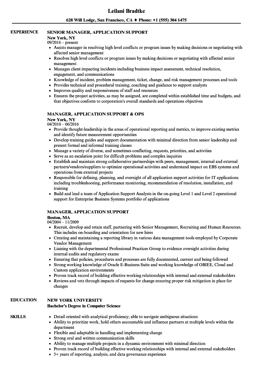 manager  application support resume samples