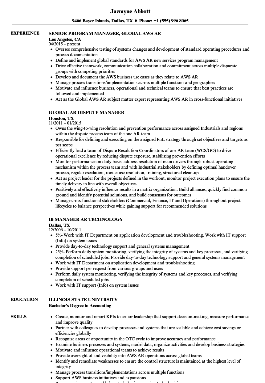 manager ar resume samples