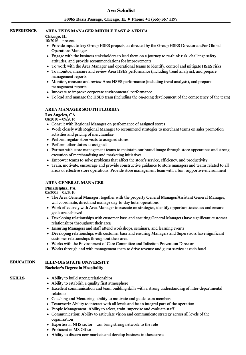 manager  area resume samples