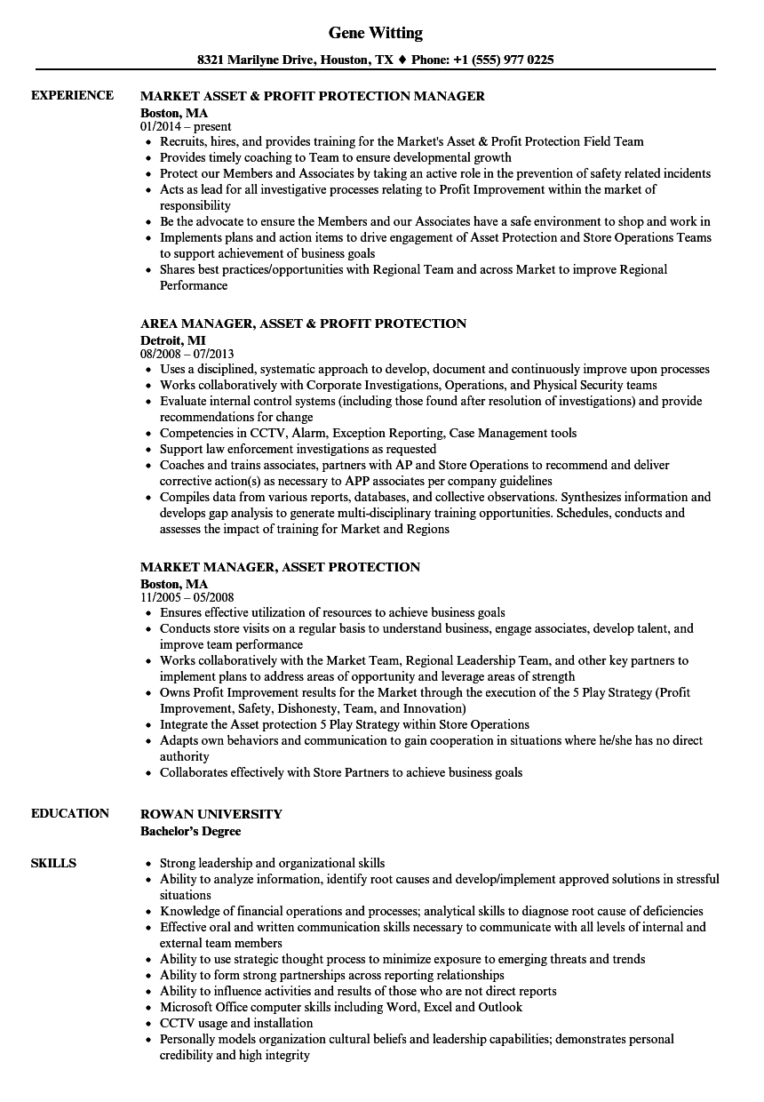 manager  asset protection resume samples
