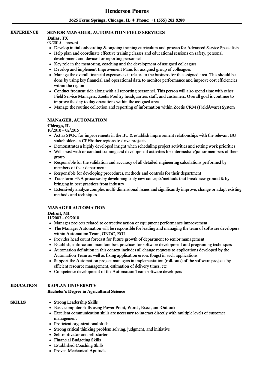 manager  automation resume samples