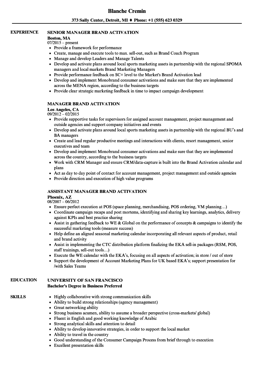 manager brand activation resume samples