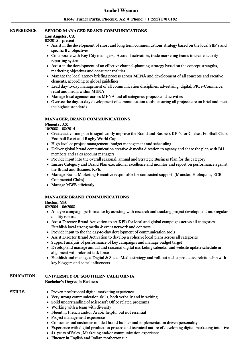 manager brand communications resume samples