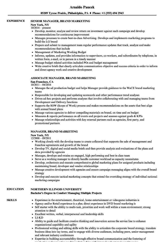 manager  brand marketing resume samples