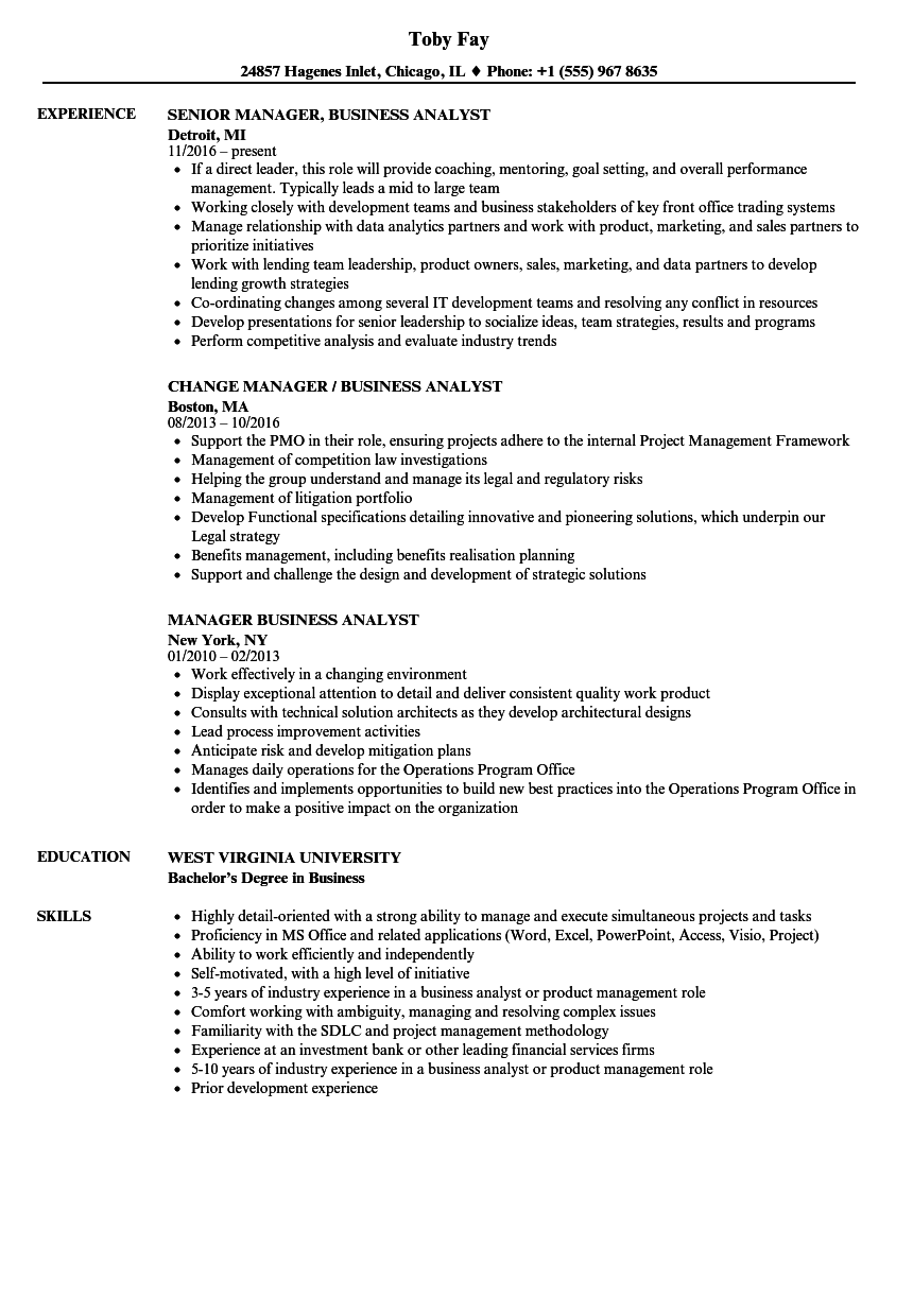 Download Manager Business Analyst Resume Sample As Image File