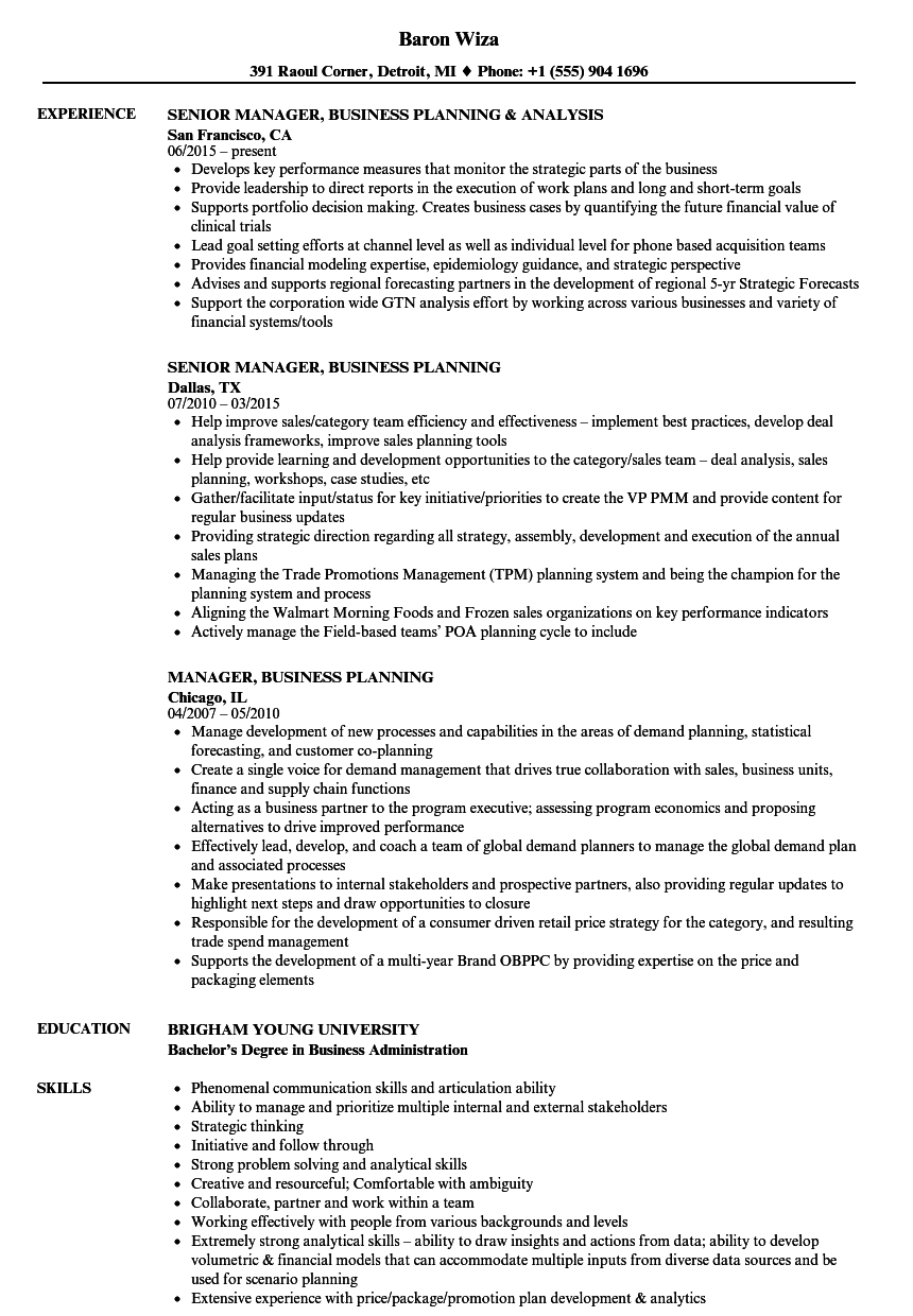 manager  business planning resume samples
