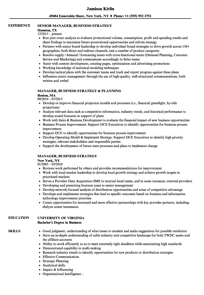 manager  business strategy resume samples
