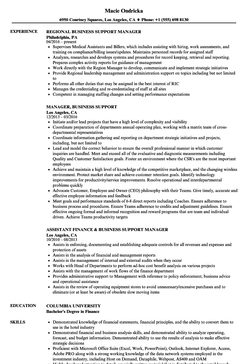 manager  business support resume samples