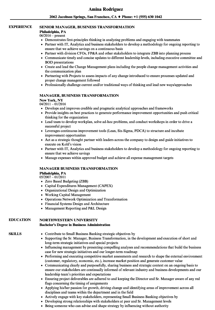 Manager, Business Transformation Resume Samples | Velvet Jobs