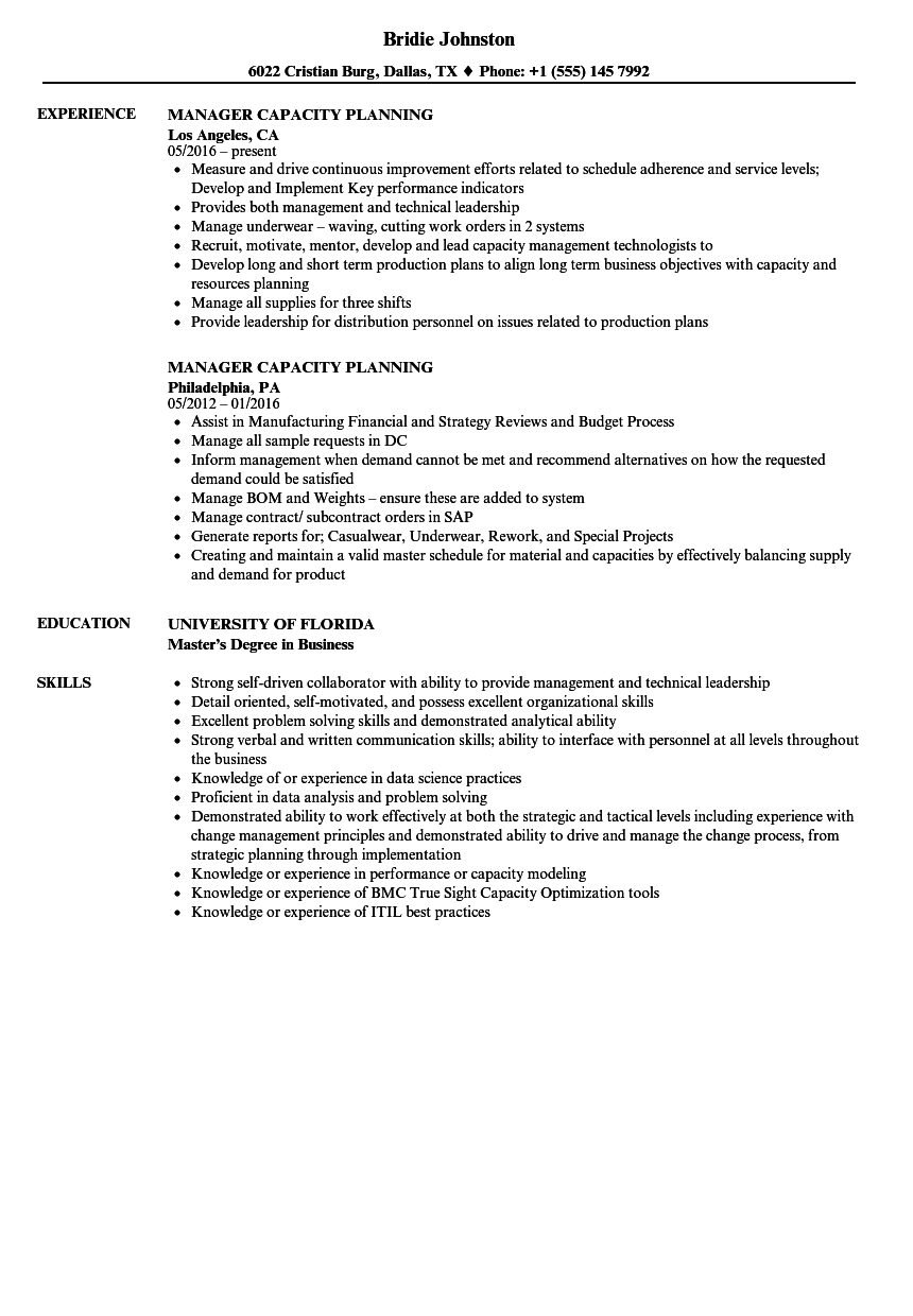 manager capacity planning resume samples