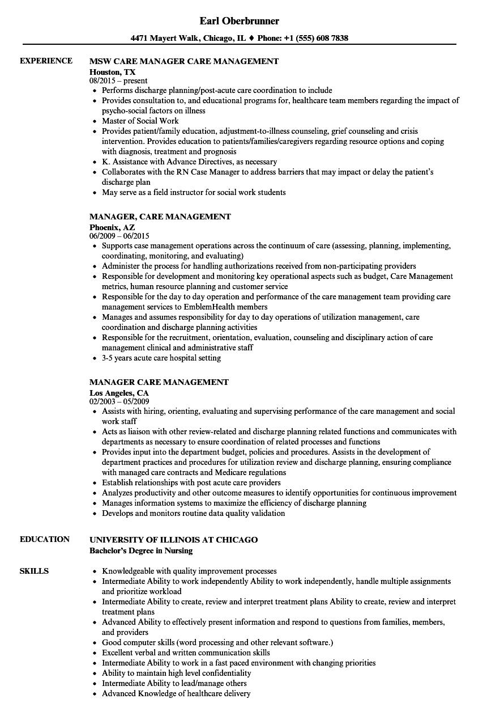 Manager, Care Management Resume Samples | Velvet Jobs