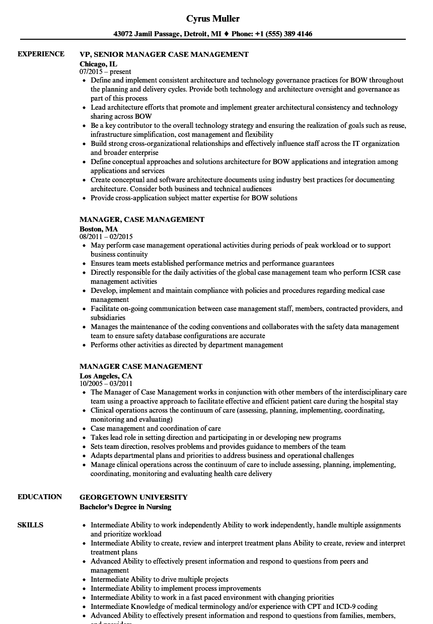 manager  case management resume samples