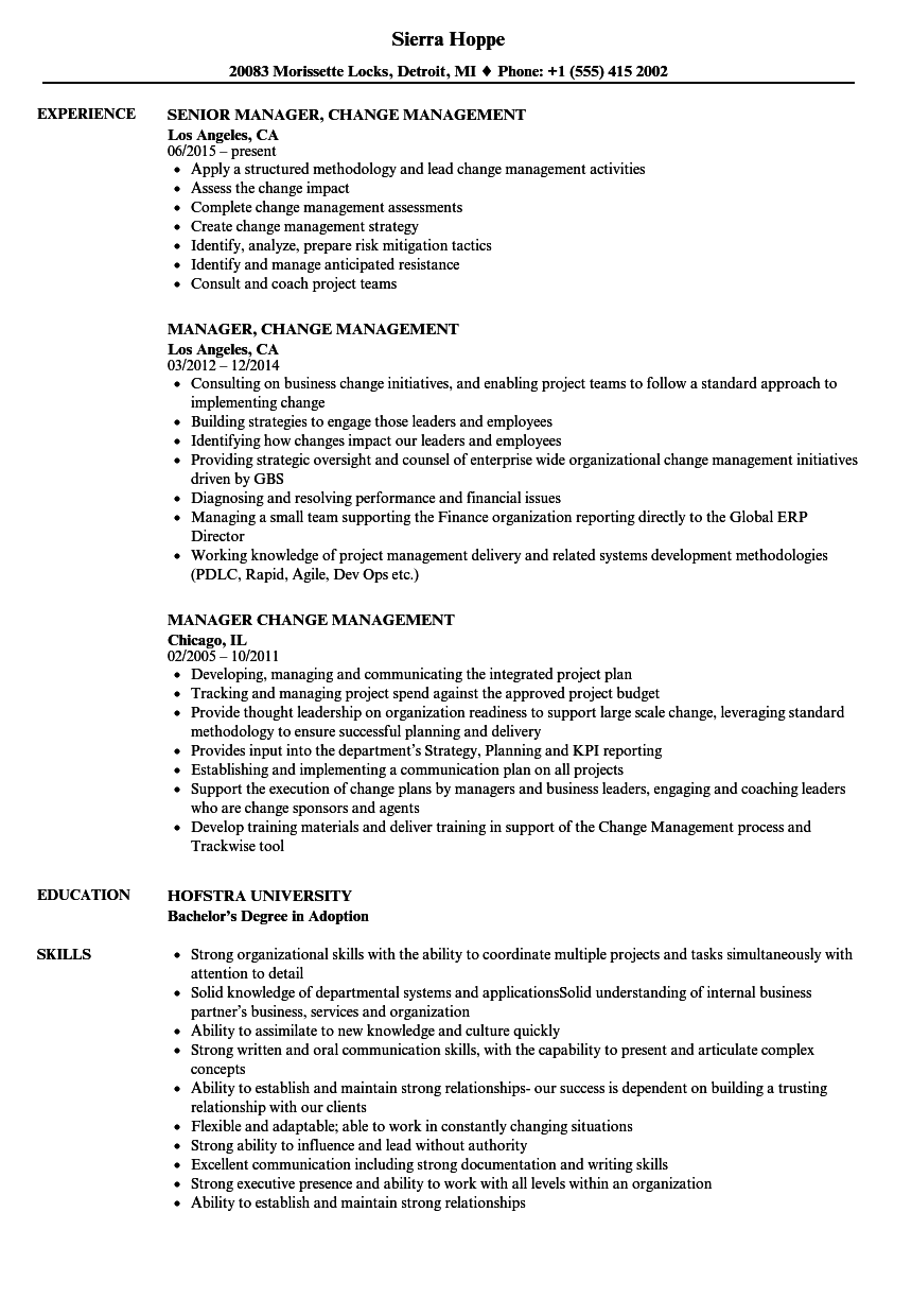 Download Manager, Change Management Resume Sample As Image File  Change Management Resume