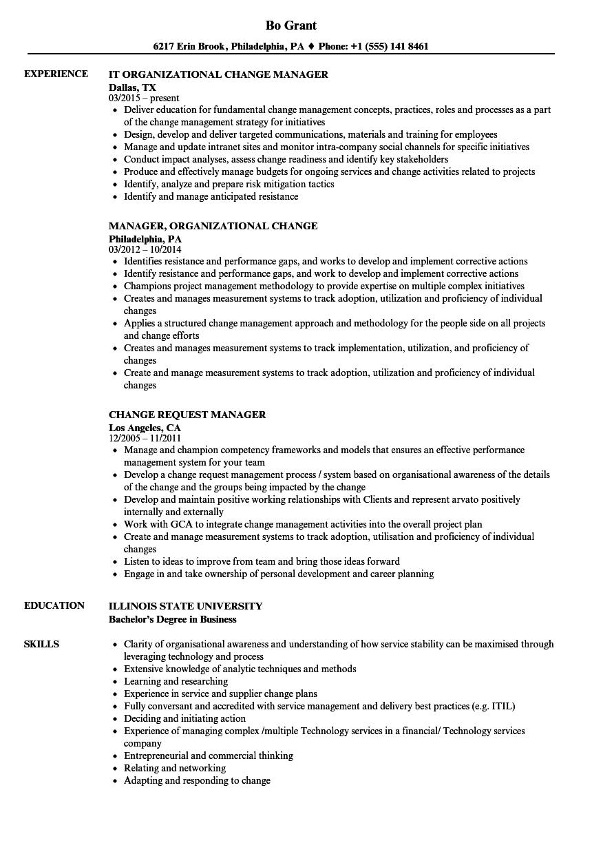 manager change resume samples