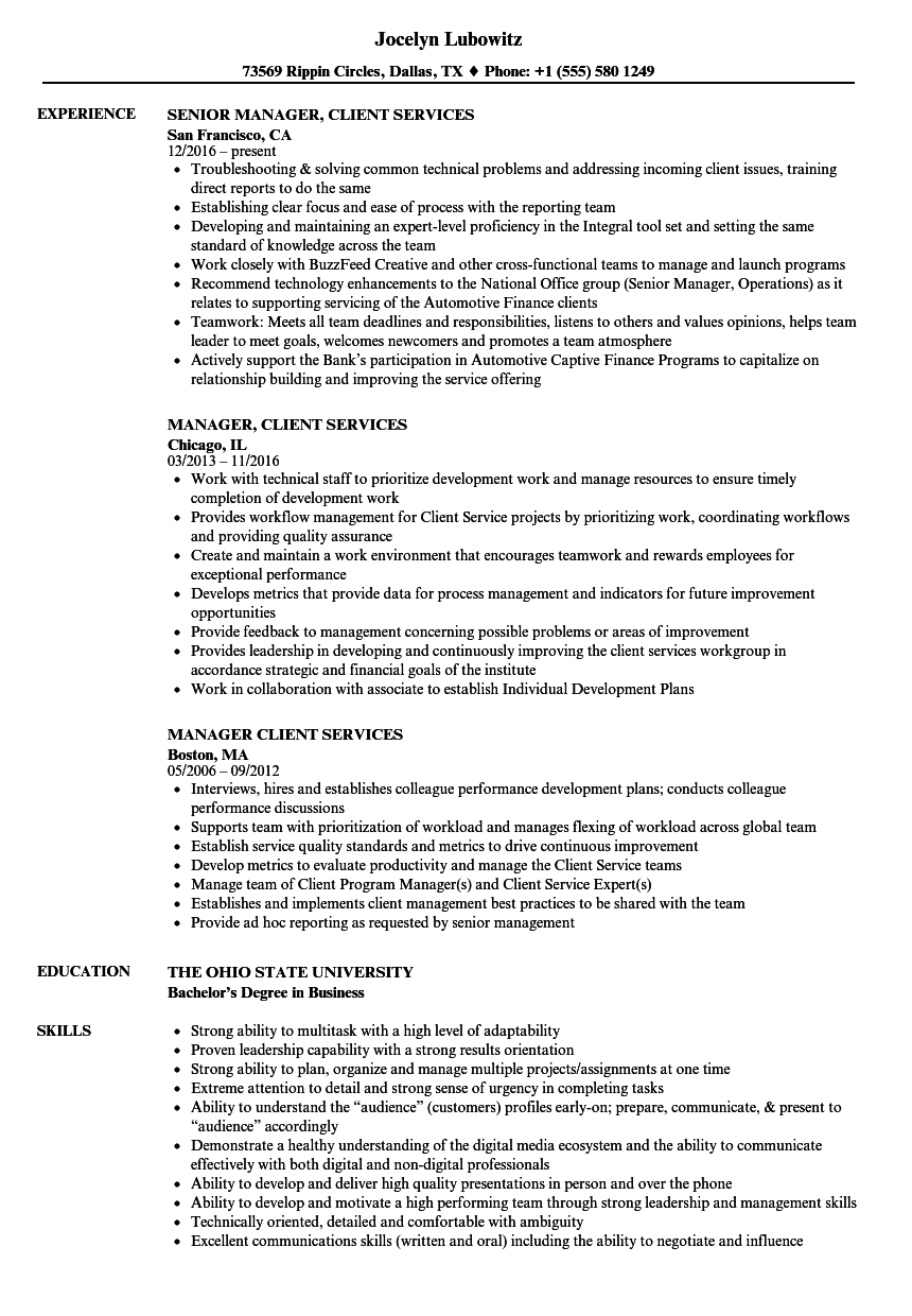 manager  client services resume samples