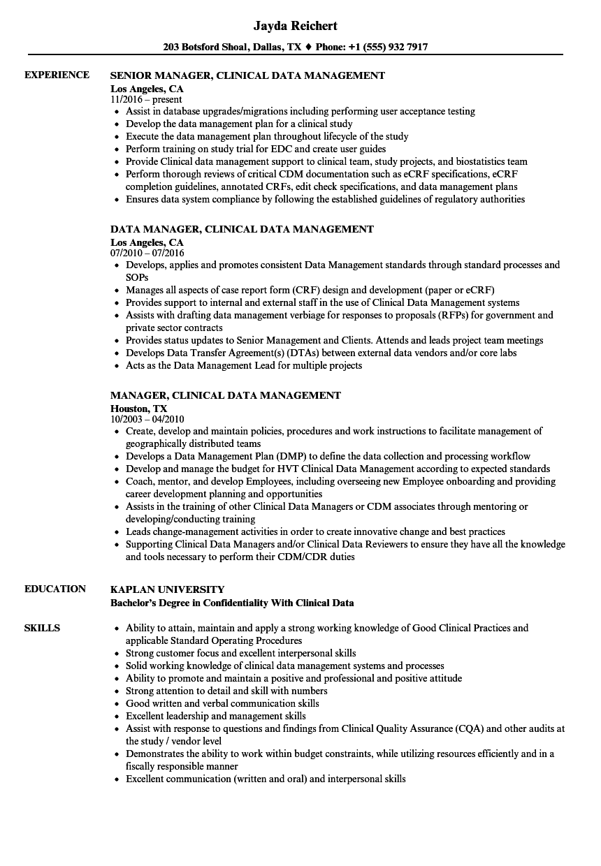 Manager, Clinical Data Management Resume Samples | Velvet Jobs