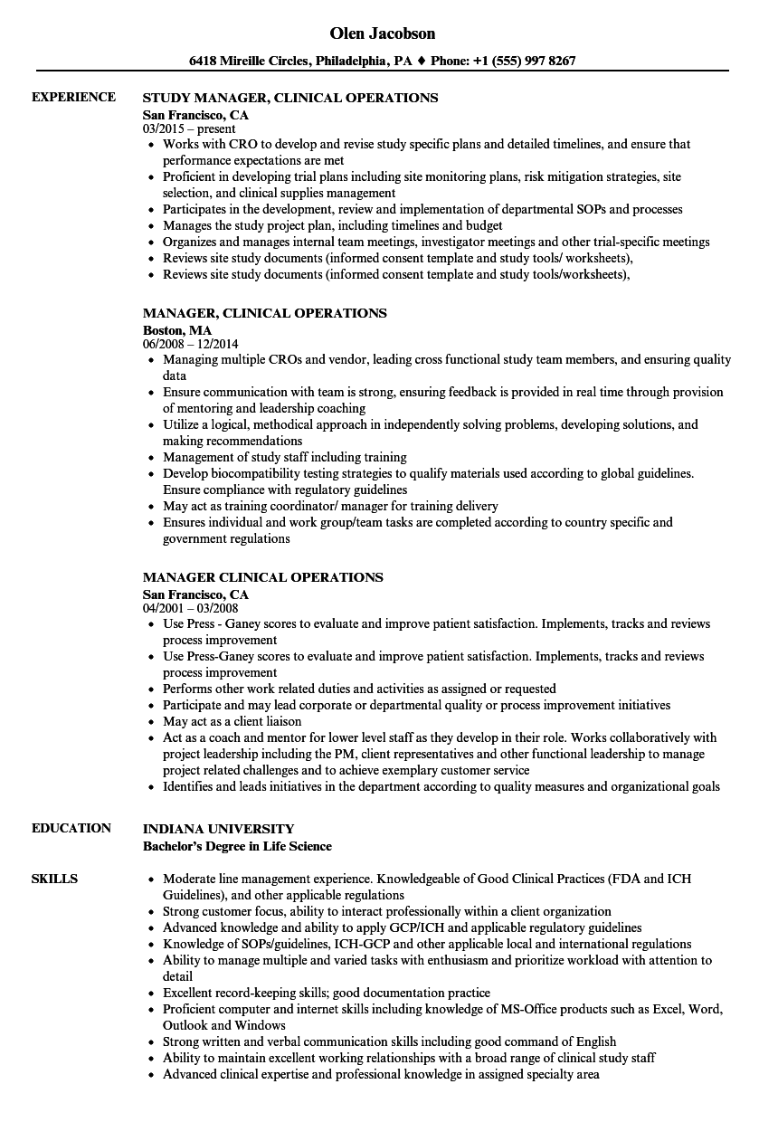 Manager  Clinical Operations Resume