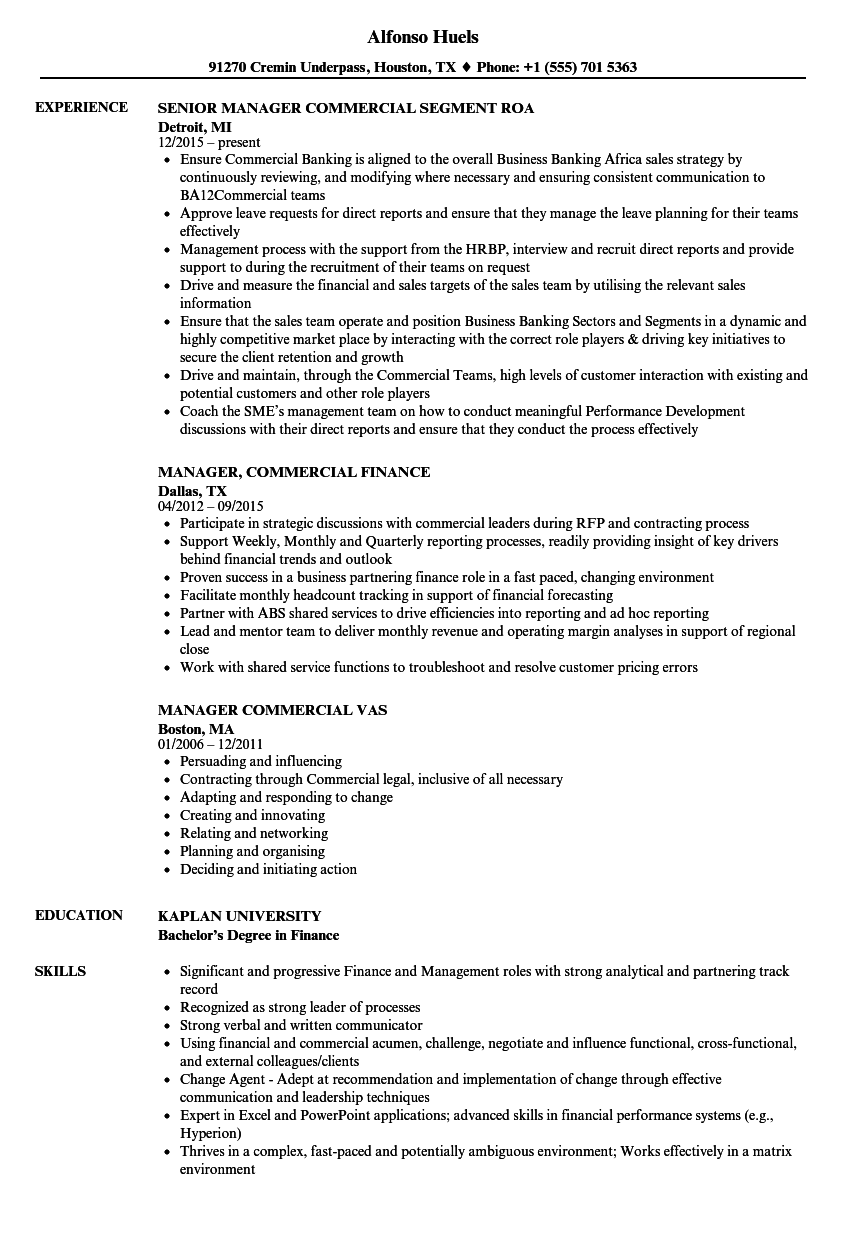 manager  commercial resume samples