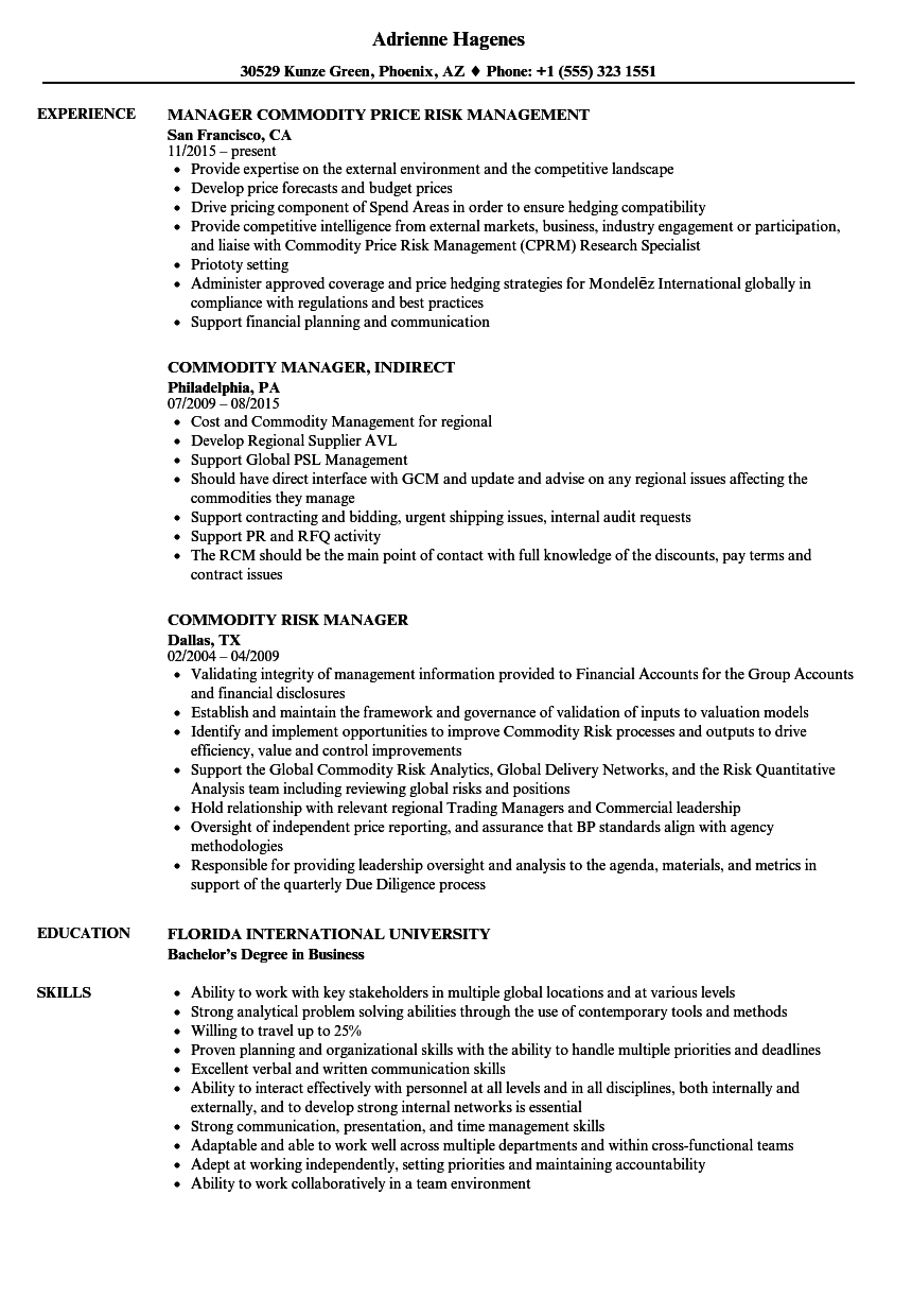 Manager Commodity Resume Samples | Velvet Jobs