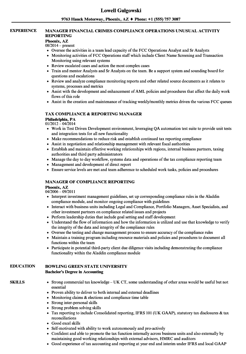 manager  compliance reporting resume samples