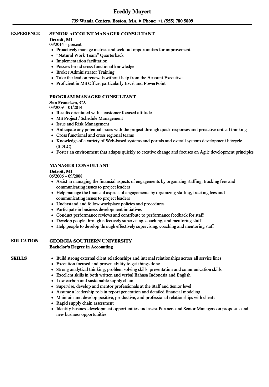 Manager Consultant Resume Samples   Velvet Jobs