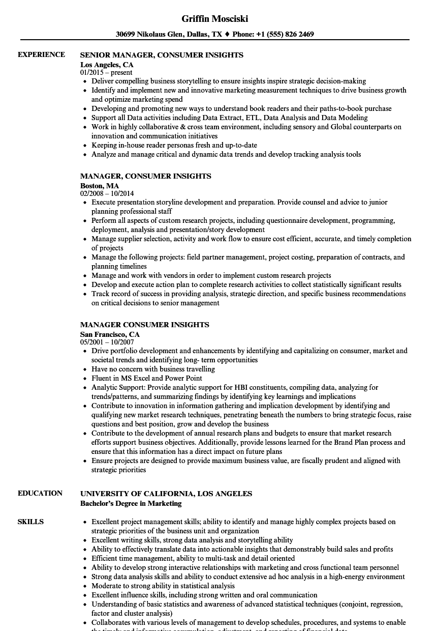 manager  consumer insights resume samples