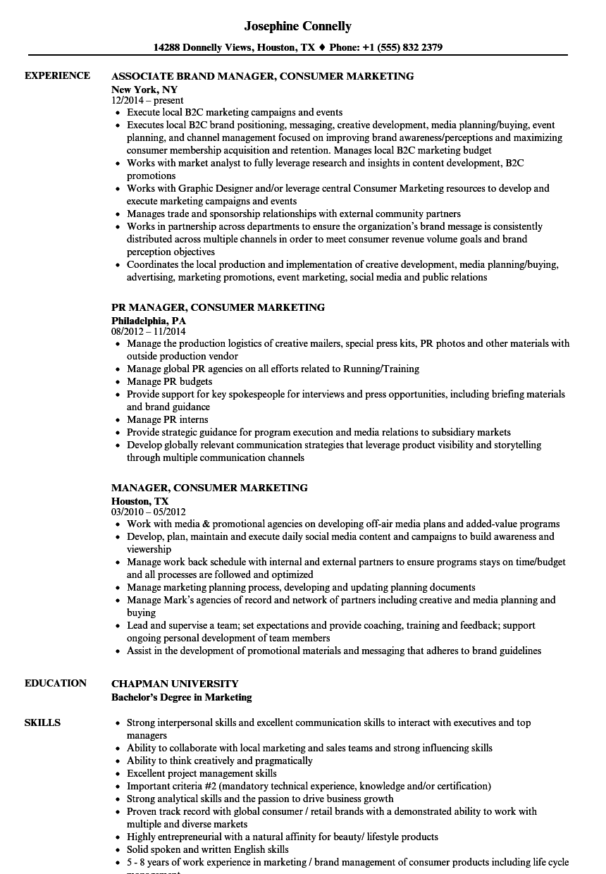 manager consumer marketing resume samples