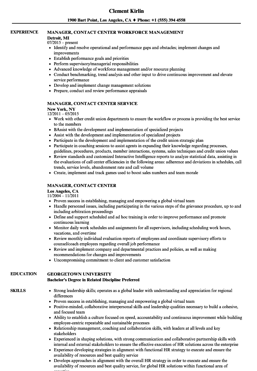 Manager, Contact Center Resume Samples | Velvet Jobs