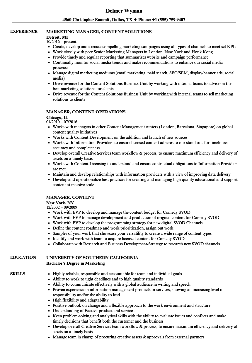 manager  content resume samples