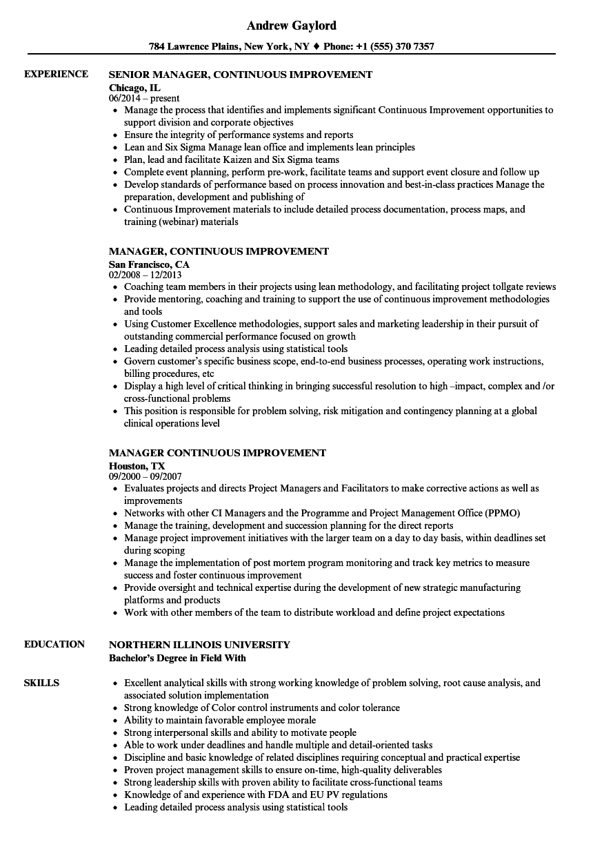 Manager Continuous Improvement Resume Samples Velvet Jobs