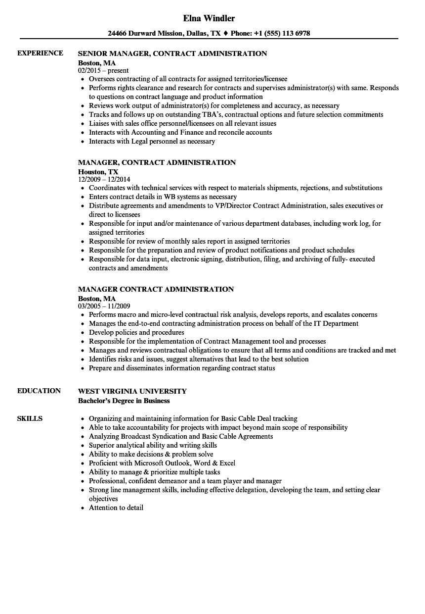 manager  contract administration resume samples