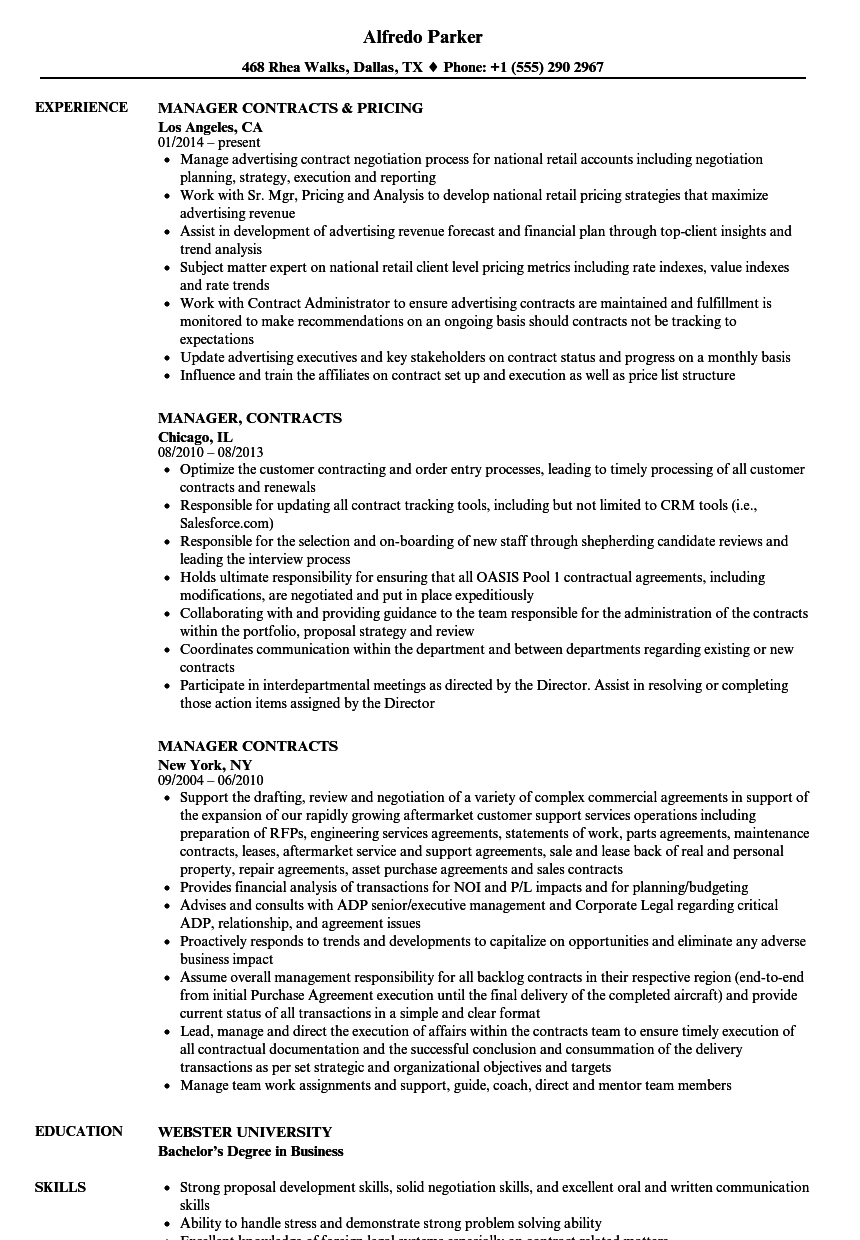 manager  contracts resume samples