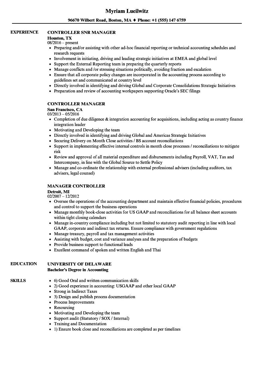 Manager Controller Resume Samples Velvet Jobs