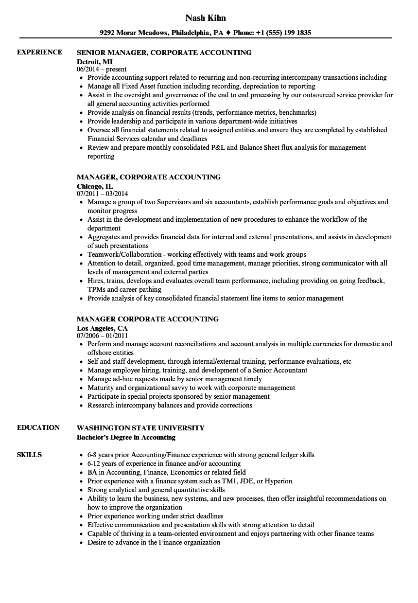 Manager, Corporate Accounting Resume Samples | Velvet Jobs
