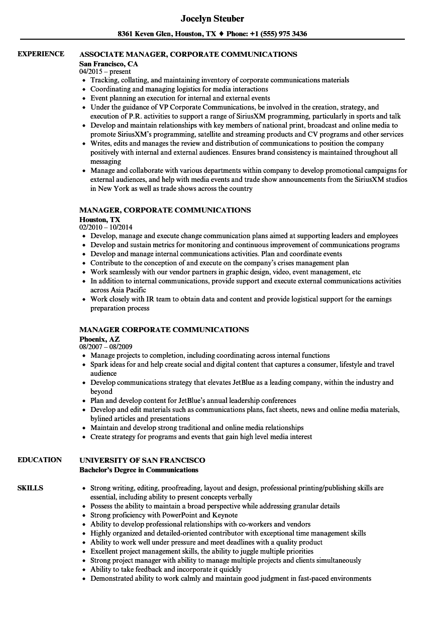 Manager, Corporate Communications Resume Samples | Velvet Jobs