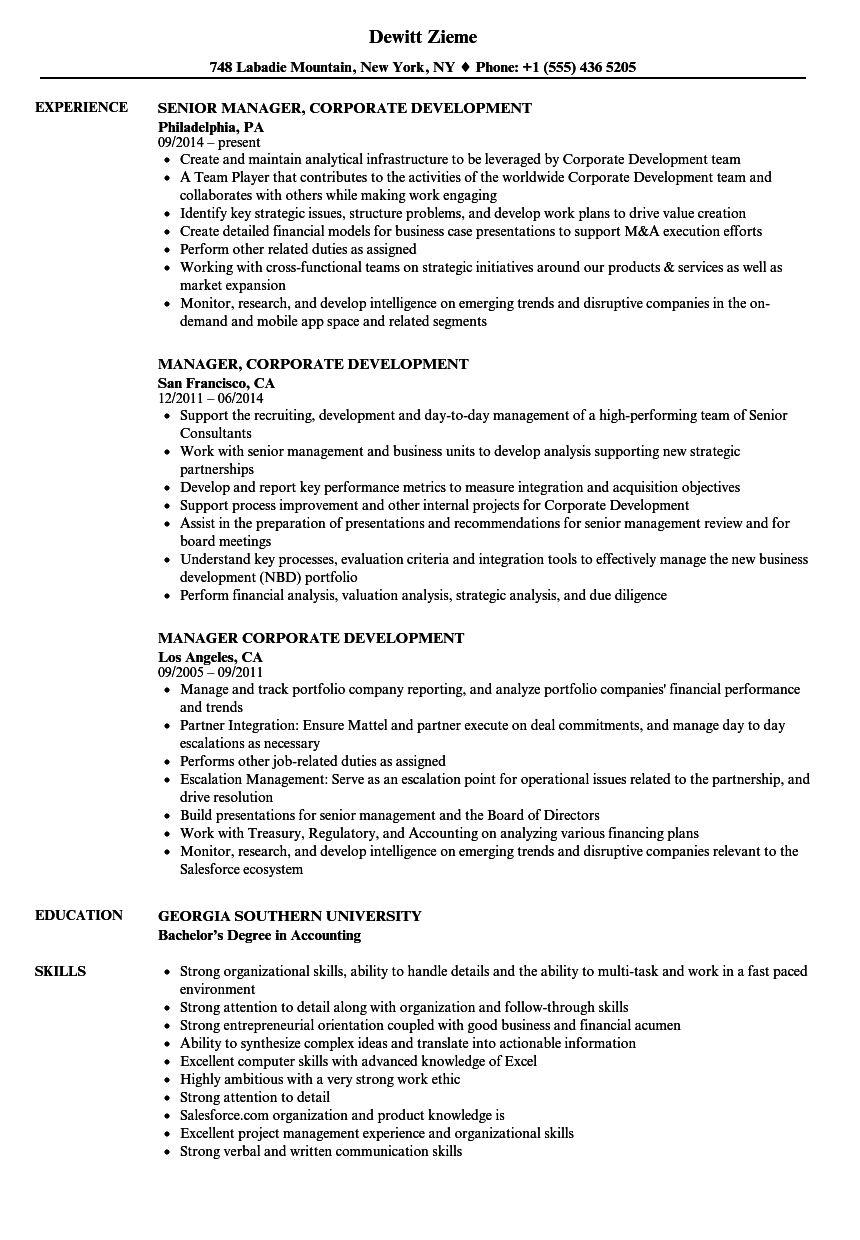 Manager, Corporate Development Resume Samples | Velvet Jobs