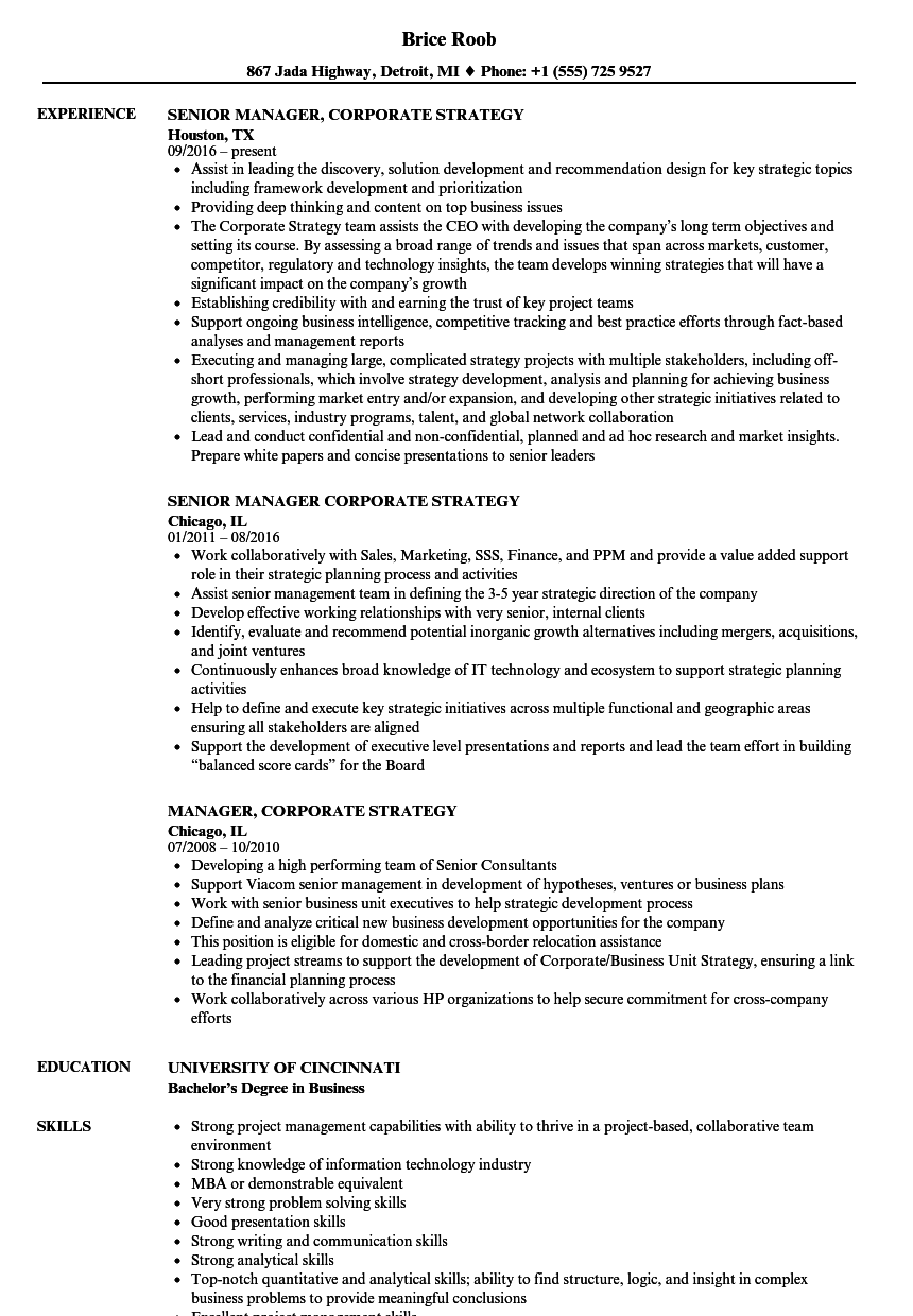 manager corporate strategy resume samples velvet jobs