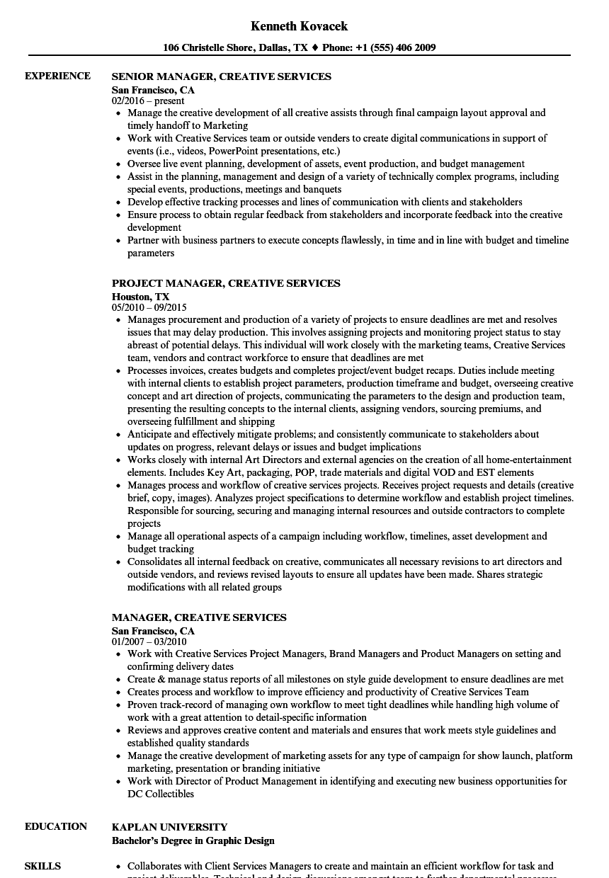 manager  creative services resume samples