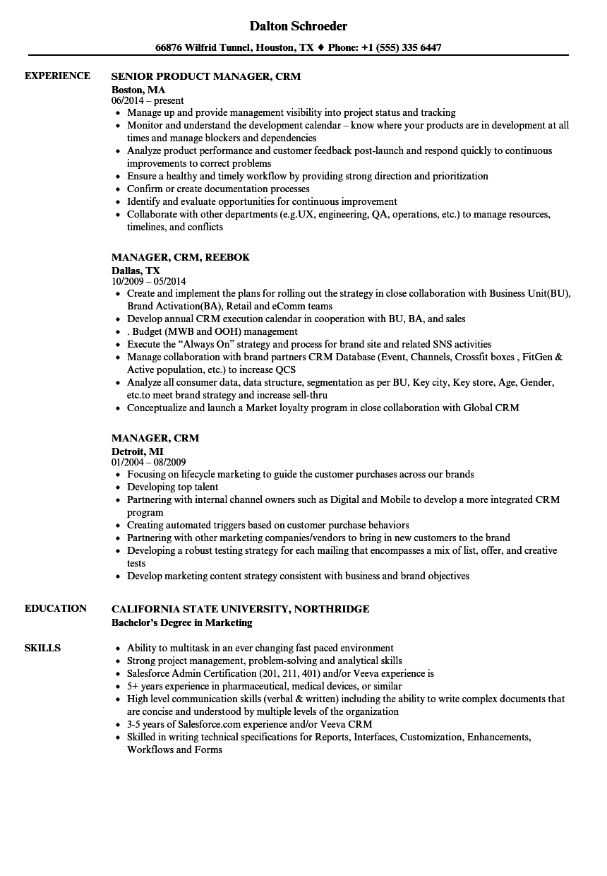 manager  crm resume samples