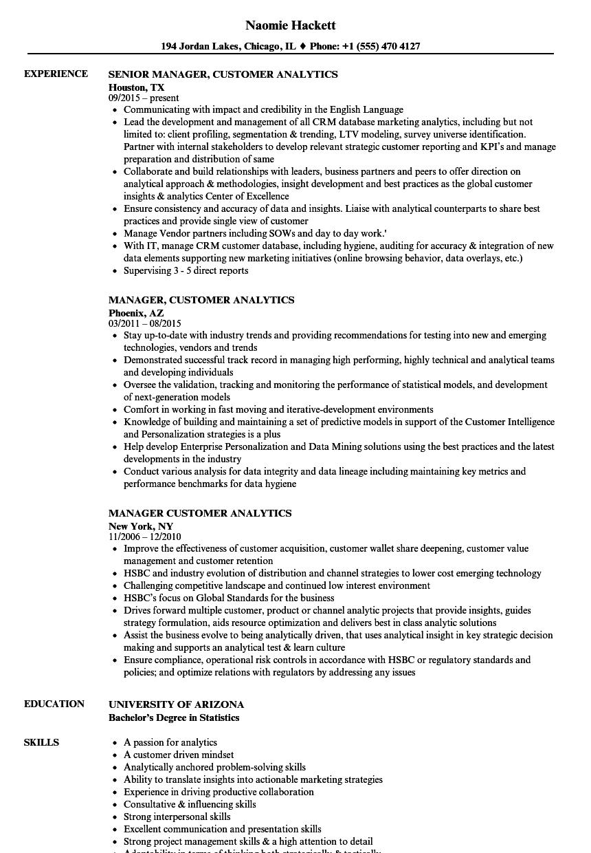 manager  customer analytics resume samples